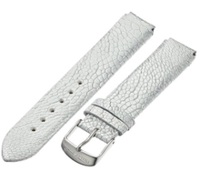 PHILIP STEIN, WATCH STRAP, LEATHER, OSTRICH, WHITE, SILVER, 18MM, 1-OMW