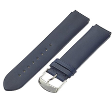 PHILIP STEIN, WATCH STRAP, BAND, NAVY, LEATHER, 2-CIN, SILVER