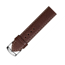 philip stein, watch band, brown, stitched, silver, 3-CSTDBR