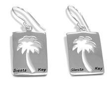 sterling silver, palm tree, earrings, dangles, Siesta key, beach, 925