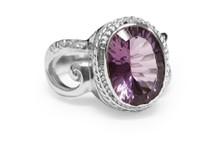 amethyst, ring, sterling silver, oval, gemstone, 925, Purple