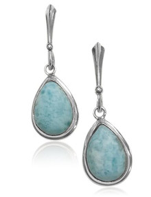 larimar, sterling silver, Blue, pear, lever back, dangle, 925
