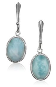 larimar, sterling silver, oval, earrings, dangle, 925