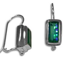 Sterling silver, Siesta Key, earrings, hook, watercolor, quartz,blue, green,925.