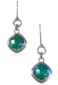 Sterling silver, Siesta Key, Watercolor, gemstone, Quartz,blue, green,925,earrings, dangle,hook