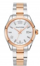 Philip Stein, men's watch, two tone, rose gold plated, natural frequency technology,metal strap, Silver city,