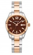 Philip Stein, Lady's watch, traveler collection, Mother of Pearl, chocolate, two tone, rose gold plated ,Silver City