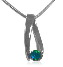 14K white gold, pendant, Siesta Key gemstone, blue, green, slider, modern.