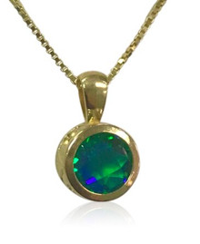 14K, yellow gold, Siesta Key gemstone, round, beach, pendant