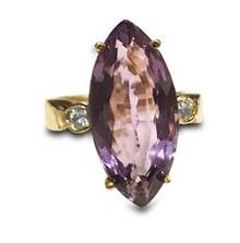 14K, yellow gold, ring, amethyst, marquise cut, purple, 8.5tw