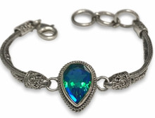 Siesta Key, watercolor, gemstone, bracelet, pear shaped, blue, green, sterling silver