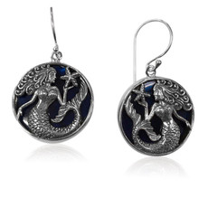 Sterling silver, blue abalone shell, earrings, mermaid, dangle, round, beach,