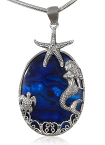sterling silver, blue abalone shell, pendant, mermaid, starfish, turtle,necklace