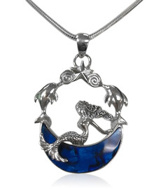 sterling silver, blue abalone shell, mermaid, dreams, star, crescent moon
