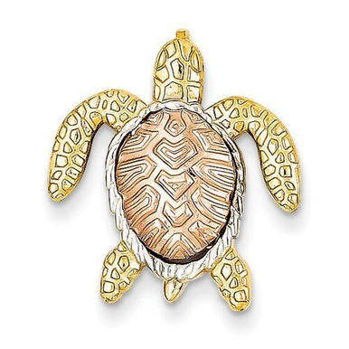 14k gold turtle pendant slide qgk4882 sterling silver sea turtle pendant charm 14k gold two tone aloadofball Choice Image