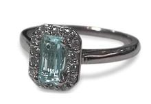 aquamarine, diamond, white gold, ring, halo, emerald cut