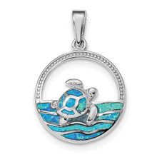 BLUE, SEA TURTLE,PENDANT, NECKLACE, LAB CREATED OPAL, SYNTHETIC OPAL