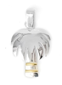 Palm TREE, PENDANT, STERLING SILVER, TWO TONE, NECKLACE, CHARM, PALM