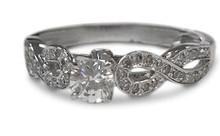 diamond, gold, ring, 14 K, white gold, solitaire, infinity design