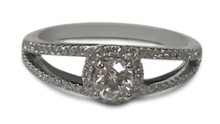 Diamond , ring, halo, solitaire, 14 K , gold, side diamonds , open band
