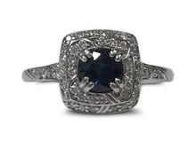 sapphire, diamond, diamonds, 14 K, white gold, vintage, filigree, designer
