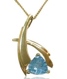 14 k, gold, trillion, blue topaz, necklace, pendant, slide, yellow, blue
