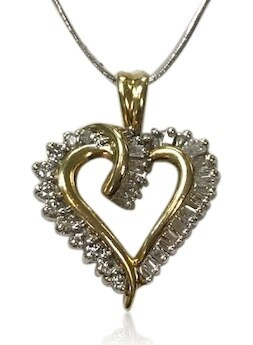 14k gold diamond heart pendant 2610 14 k gold diamond heart necklacependant baguette diamonds aloadofball Images