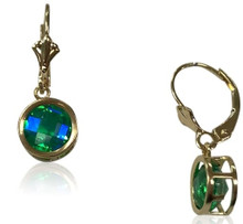 14 K , gold, siesta key, gemstone, quartz, watercolor, round, green, blue, lever backs