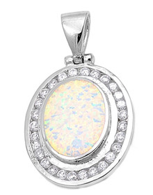 white opal, sterling silver, oval, necklace, pendant, white opal