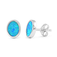 sterling silver, oval,  stud, earrings, blue, lab created opal, bezel