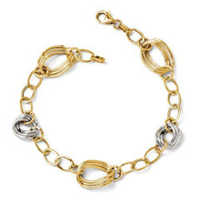 14k, Gold, two tone, bracelet, link, white gold, yellow gold, italy
