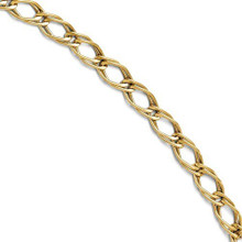 14k, gold, link, double link, bracelet, yellow gold