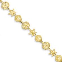 14k, GOLD,SHELL, SEALIFE, bracelet, starfish, sand dollar, yellow gold