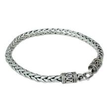 sterling silver, braided, bracelet, vintage, antiqued, bali, 925