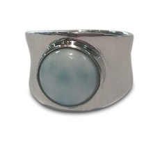 larimar, ring, sterling silver, blue, gemstone, round, modern, shiny