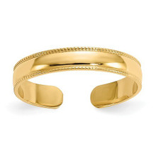 TOE RING, GOLD, 14 K, SOLID, SHINY BAND, MILL GRAIN, ADJUSTABLE