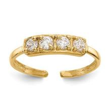 toe ring, yellow gold, cz, 14K, cubic zirconia, adjustable