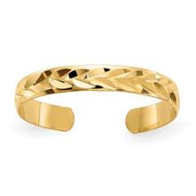 TOE RING, GOLD, DIAMOND CUT, ADJUSTABLE, YELLOW, 14 K