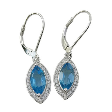 sterling silver ,blue topaz, earrings, lever backs, marquise, crystals, sky blue, dangles