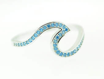 blue, topaz, ring, wave, sterling silver, micro pave, ocean wave, gemstone