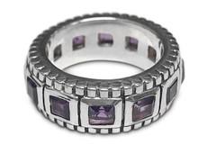 amethyst, ring, sterling silver, princess cut, anniversary band, purple, gemstone, square