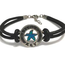 Sterling silver, blue opal, leather, bracelet, Siesta Key,beach , starfish