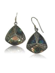 sterling silver, abalone shell, dangle, earrings