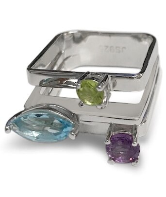 sterling silver, ring, square, blue topaz, amethyst, peridot, modern, 925