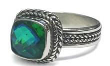 Siesta Key, sterling silver, ring, gemstone, vintage,square, green, blue, watercolor