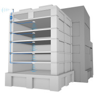 multistory building signal booster system