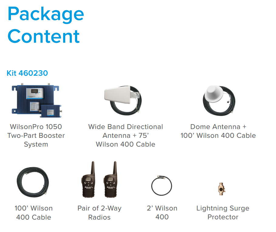 WilsonPro 1050 Cellular Booster Package Contents