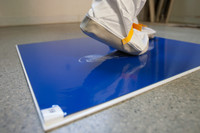 Blue TackMat with frame used outside of cleanroom - closeup.