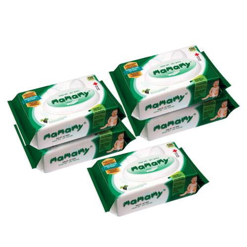 Khăn ướt Mamamy Combo 5 gói 100 tờ không mùi