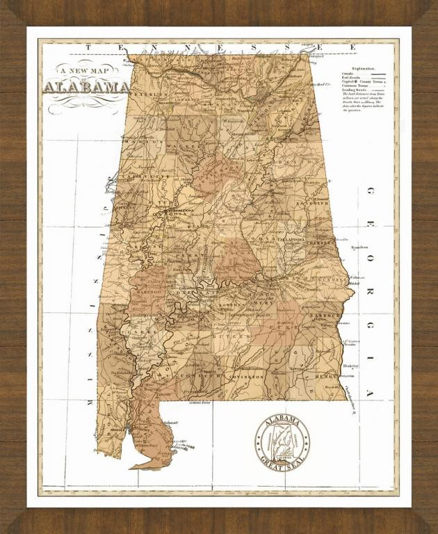 Old Map Of Alabama A Great Framed Map Thats Ready To Hang - Map of alabama